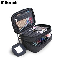 Double Layer Cosmetic Bag With a Mirror Travel Organizer Functional Makeup Pouch Toiletry Brush Vanity Case Accessories Supply