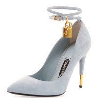 Tom Ford Suede Ankle-Lock Pump, Cloud Blue
