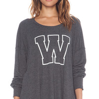 Wildfox Couture Simply Sporty Long Sleeve in Charcoal