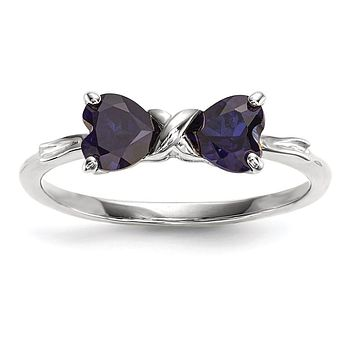 14k White Gold Polished Created Sapphire Bow Ring