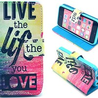 iphone 5C Case, Live the Life you Love Flip Wallet Credit ID Card Slot Holder Phone Case With Stand --Retail Package W Screen Protector --Pink
