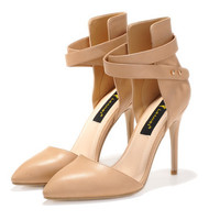 Womens Trendy Strap Close Toe Heels