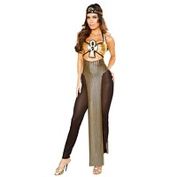 Sexy Cleopatra's Sin Egyptian Goddess Padded Split Gemstone Panel Dress with Mesh Tights and Headband