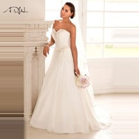 2016 In Stock Wedding Dresses Vestido de Noiva Casamento Robe De Mariage Sweetheart Chiffon Plus Size Beach Wedding Gown