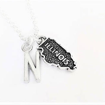Best Friend necklace, Illinois necklace, friendship jewelry, initial necklace, state charm, gift for her sister necklace no matter where