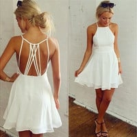 Women Strap Backless Evening Party Club Swing Short Mini Dress White  7_S [9221774980]