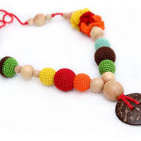 Colorful Nursing/Breastfeeding necklace - Teething toy with a coconut button - Crochet sling necklace.