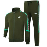 PUMA autumn and winter warm sweater trousers casual jacket sportswear two-piece Green