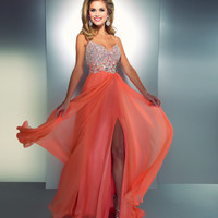 Mac Duggal Prom 2013-Coral Chiffon GownWith Silver Embellished Top - Unique Vintage - Cocktail, Pinup, Holiday & Prom Dresses.