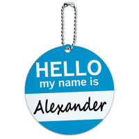 Alexander Hello My Name Is Round ID Card Luggage Tag