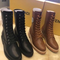 Fendi  Women Leather Black Fashion Lace-up Boots Shoes Best Quality