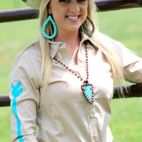 Tan Rodeo Shirt w/ Turq Arrows