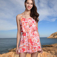 Women Floral Printed Floral Printed Spagehetti Strap Romper Shorts Trousers Pants _ 11211