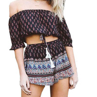 High Street Women Print Slash Neck Off Shoulder Crop Tops Shorts Two Piece Set Summer Beach Party Printed Two Piece Outfit u2