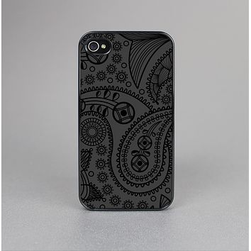 The Dark Gray & Black Paisley Skin-Sert for the Apple iPhone 4-4s Skin-Sert Case