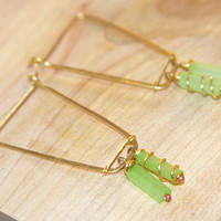 Unique Hoop Earrings, Green Beaded Hoops, Gold Hoop Earrings, Handmade Hoop Earrings, Birch Bark Design