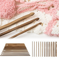 12 Size Bamboo Handle Crochet Hook Knit Weave Yarn Craft Knitting Needle 6 inch  (Color: Brown) = 1958430148