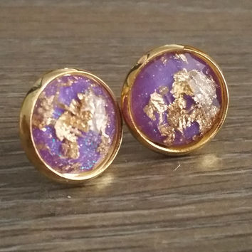 Faceted Purple Gold leaf silver tone stud earrings