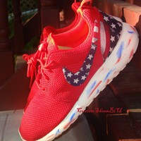 Custom Red Nike Roshe American Flag Print Marble Sole