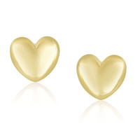 14K Yellow Gold Puffed Heart Shape Shiny Earrings - Style 1