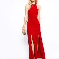 Jarlo Orla Maxi Dress With High Neck and Thigh Splits