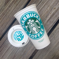 Monogrammed Solid Color Starbucks Inspired Travel Mug