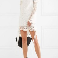 SELF-PORTRAIT Macramé lace-trimmed crochet-knit mini dress