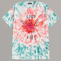 Fashion Casual Men Letter and Gesture Print Tie Dye Top