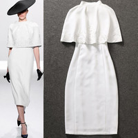 Holly Go Lightly 2 Pc White Dress & Cape Set    -   New Arrival