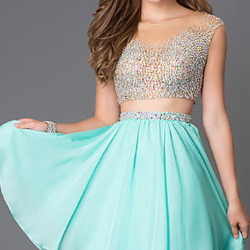 Short Two Piece Homecoming Dress 1314