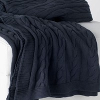 Favorite Cable Knit Charcoal Grey Throw