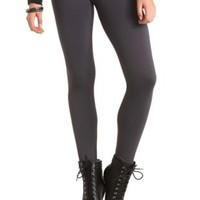High Rise Faux Fur-Lined Leggings by Charlotte Russe - Dark Gray
