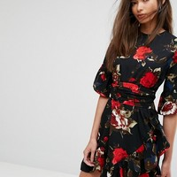 PrettyLittleThing Floral Frill Mini Dress at asos.com