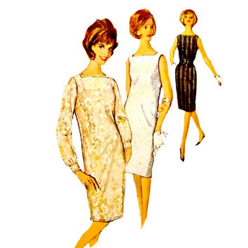 60s Shift Dress Pattern Day or Evening Wear Fitted Under Slip Sleeve Options Vintage Simplicity 5490 Sewing Patterns Size 16 Bust 36