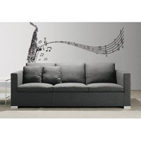 """Stickerbrand© Music Vinyl Wall Art Saxophone w/ Music Notes Wall Decal Sticker - Black, 72"""" x 31"""". Easy to Apply & Removable. Includes FREE Application Squeegee"""