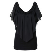 New Summer Women's Chiffon V-Neck Tops Short Sleeve Shirt Casual Blouse TopTQ