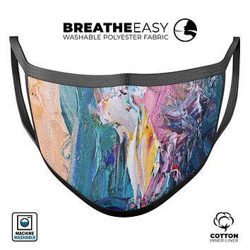 Abstract Oil Strokes - Made in USA Mouth Cover Unisex Anti-Dust Cotton Blend Reusable & Washable Face Mask with Adjustable Sizing for Adult or Child
