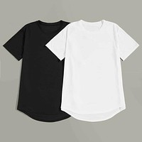 Fashion Casual Men Curved Hem High Low Tee 2pcs
