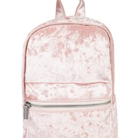 Pink Crushed Velvet Mini Backpack
