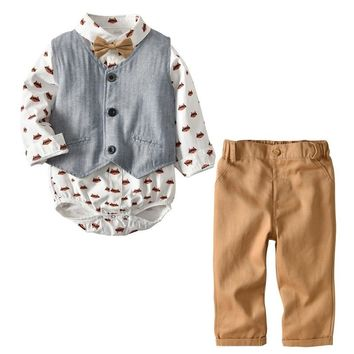 Boys Clothes 2018 Spring and autumn Gentleman Shorts Suit Casual Cotton Children Clothing Wedding Party Set Kids baby Outfits