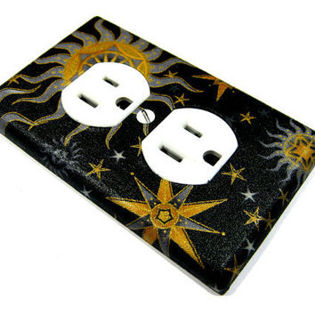 Black Celestial Sun Moon and Stars Outlet Cover by ModernSwitch