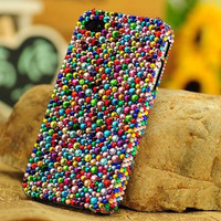 Custom Bling Colorful Crystals iPhone Cases iPhone 5 Case Multicolored Rhinestone iPhone 4 Cases iPhone 4s Case Samsung Galaxy S3 Case