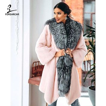 2020 Luxurious New Real Natural Pink Mink Fur Jacket With Collar Women Winter Fashion Design Long Mink Fur Coat Thick