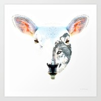 A Wolf In Sheep's Clothing by Sharon Cummings Art Print by Sharon Cummings