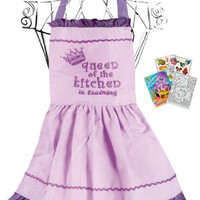 Manual Woodworkers IOQKPV Queen of the Kitchen In Training Purple Child Apron with Coloring Book