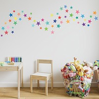 Wall Decals Stars Rainbow Colors Eco-Friendly Fabric Removable & Reusable Wall Stickers