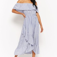 Pinstriped Flounce High-Low Dress