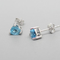 Blue Topaz Sterling Silver Earrings, 925 Topaz Ear Studs, November Birthstone, Anniversary, Birthdays, Wedding, Special Occasions