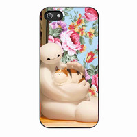 Baymax And cat flower 63119760-513f-49b9-9f4e-2abe98073414 FOR iphone 5S CASE *RA*