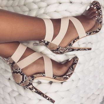 Hot style sexy crossover rubber heel sandals for women